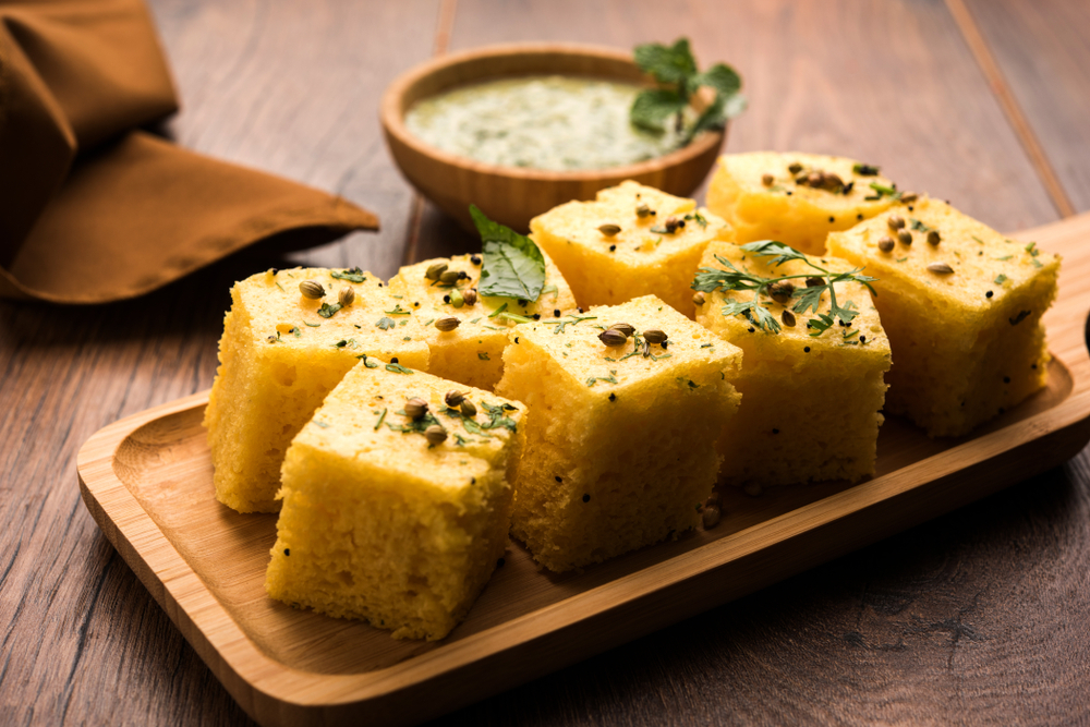 Steamed besan dhokla