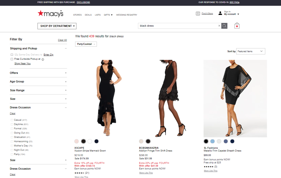 macy's search results page