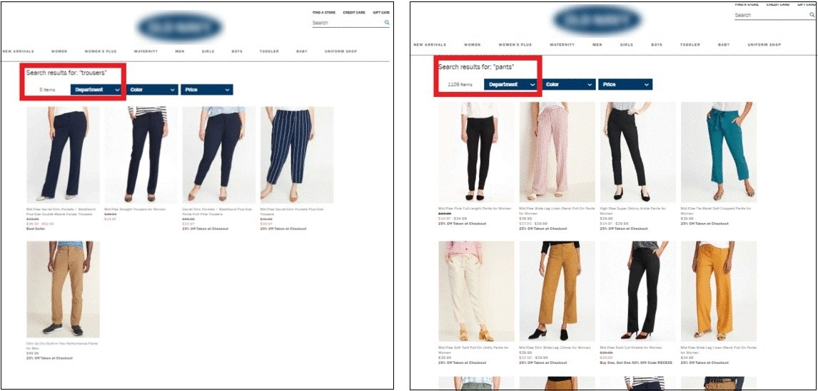 synonyms in ecommerce search