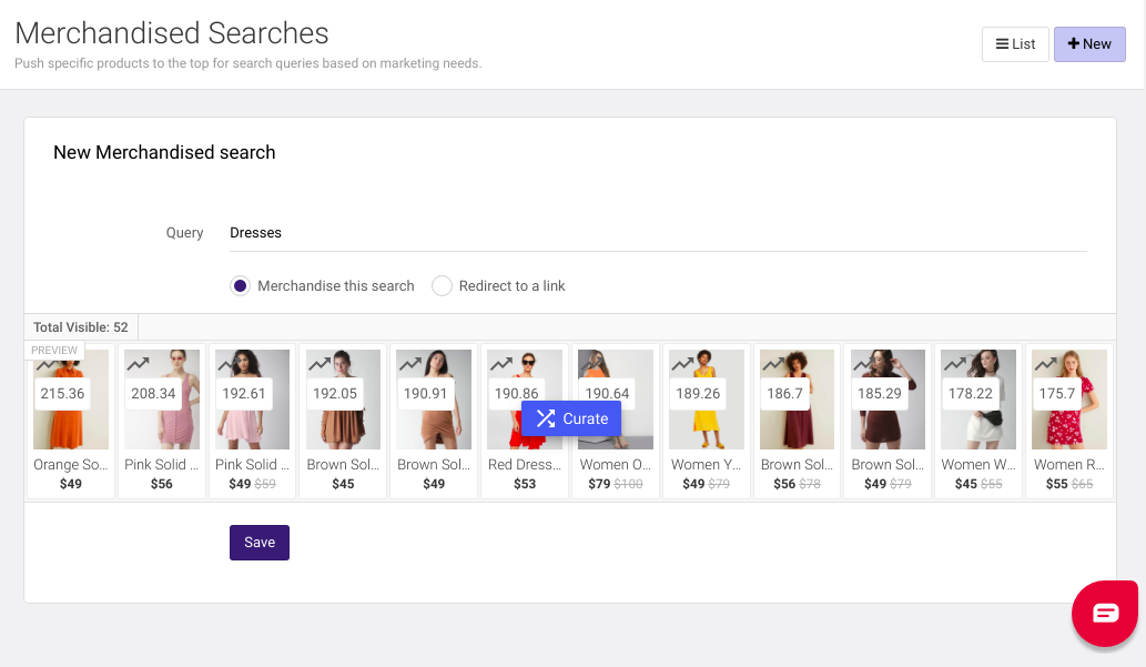 merchandised searches